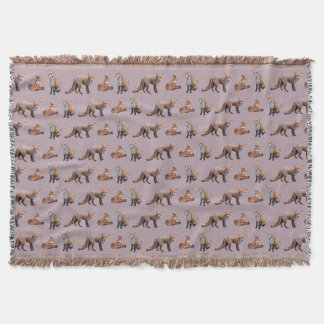 Red Fox Frenzy Throw Blanket (Pink)