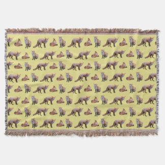 Red Fox Frenzy Throw Blanket (Yellow)