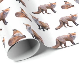 Red Fox Frenzy Wrapping Paper (Choose colour)