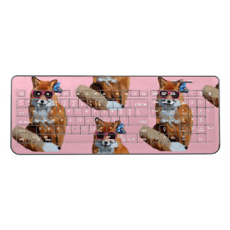 Red Fox, Funky Pink  Custom Wireless Keyboard