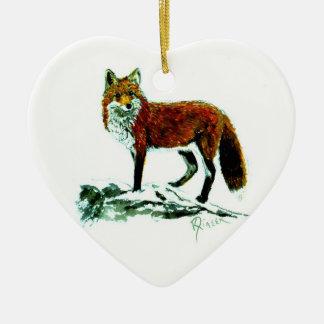 Red Fox heart ornament