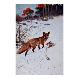 Red Fox Hunting Art Poster