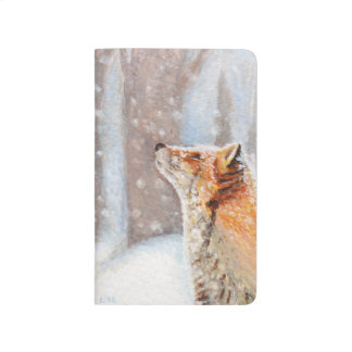 Red Fox in a Snowy Woodland Painting Journal