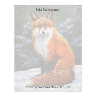 Red Fox in Falling Snow Letterhead