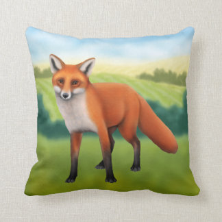 Red Fox in Field Throw Pillow