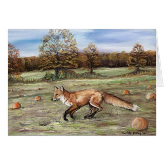 Red Fox in Pumpkin Patch Art Note Card