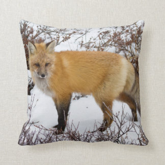 Red Fox in snow in winter Throw Pillow