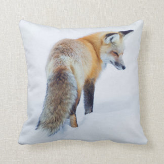 Red Fox in Winter Throw Pillow