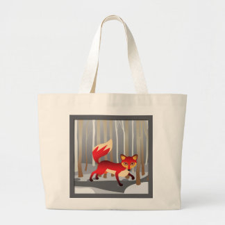 Red Fox in Winter Woods Large Tote Bag