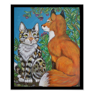 Red Fox Kit and Cat Poster, Original Animal Art Poster