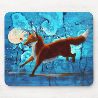 Red Fox Kitsune Surreal Fantasy on Blue Mousepad