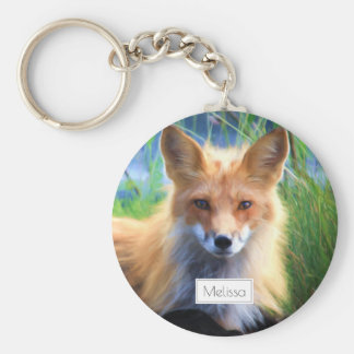 Red Fox Laying in the Grass Scenic Personalized Basic Round Button Keychain