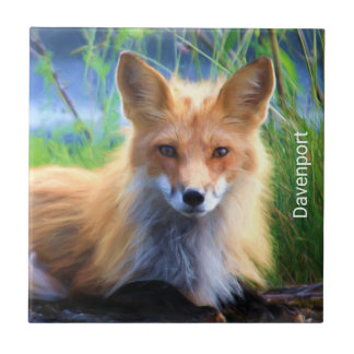 Red Fox Laying in the Grass Scenic Personalized Ceramic Tiles