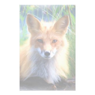 Red Fox Laying in the Grass Scenic Wildlife Personalized Stationery