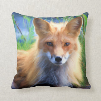 Red Fox Laying in the Grass Scenic Wildlife Throw Pillow