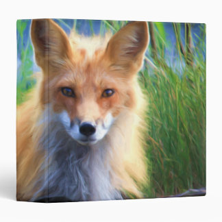 Red Fox Laying in the Grass Wildlife Image 3 Ring Binder
