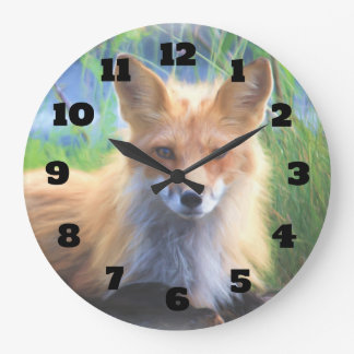 Red Fox Laying in the Grass Wildlife Image Large Clock