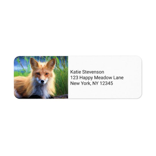 Red Fox Laying in the Grass Wildlife Image Return Address Label