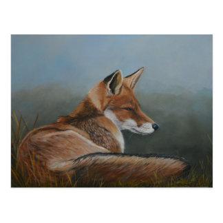 Red Fox Laying Low Animal Art Postcard