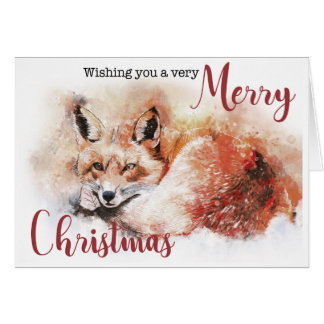 Red Fox Merry Christmas Card