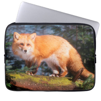 Red Fox on a log Laptop Sleeve