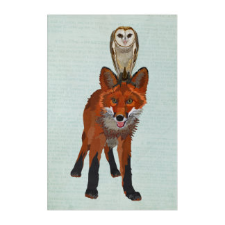 RED FOX & OWL ACRYLIC PRINT