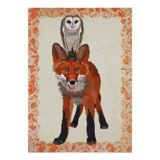 RED FOX & OWL Art Poster