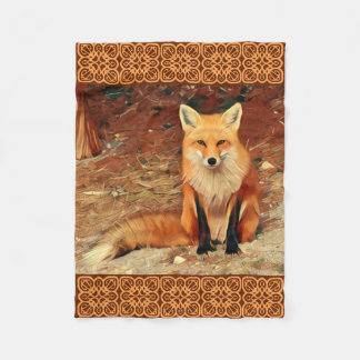 Red Fox Painting Fleece Blanket