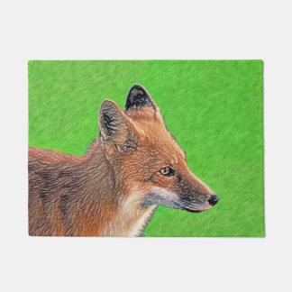 Red Fox Painting - Original Wildlife Art Doormat