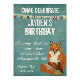Red Fox Retro Birthday Invitation