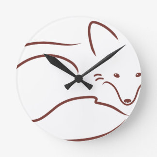 Red Fox Round Clock