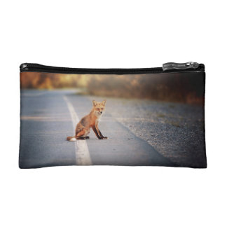 Red Fox Sitting on the side of the road Cosmetic Bag