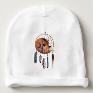 Red Fox Sleeping on Dreamcatcher Baby Beanie