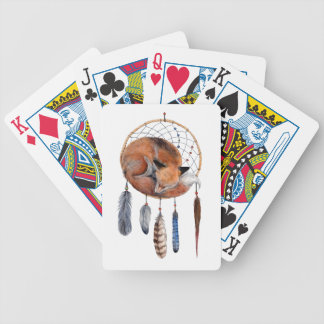 Red Fox Sleeping on Dreamcatcher Bicycle Playing Cards