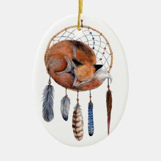 Red Fox Sleeping on Dreamcatcher Ceramic Oval Ornament