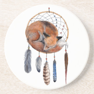 Red Fox Sleeping on Dreamcatcher Coaster