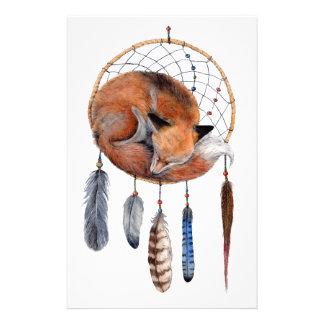 Red Fox Sleeping on Dreamcatcher Customized Stationery