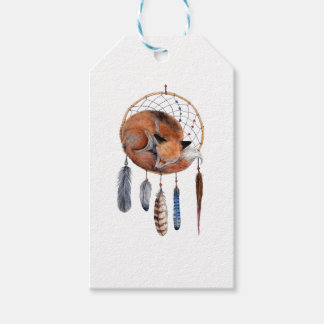 Red Fox Sleeping on Dreamcatcher Gift Tags