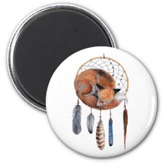 Red Fox Sleeping on Dreamcatcher Magnet