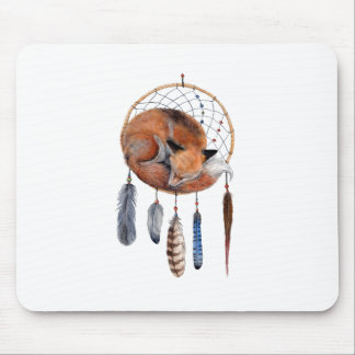 Red Fox Sleeping on Dreamcatcher Mouse Pad
