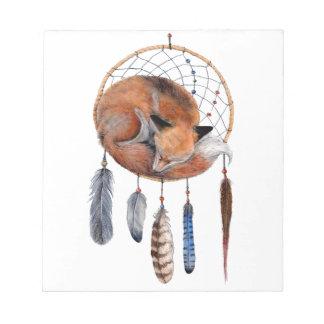 Red Fox Sleeping on Dreamcatcher Notepad