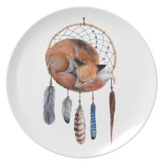 Red Fox Sleeping on Dreamcatcher Plate