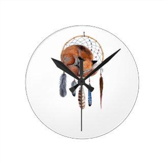 Red Fox Sleeping on Dreamcatcher Round Clock