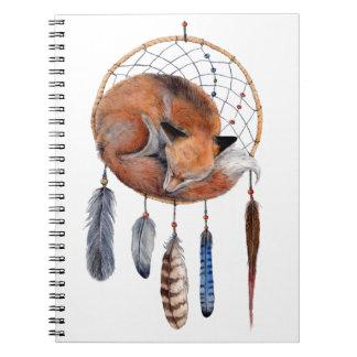 Red Fox Sleeping on Dreamcatcher Spiral Note Book