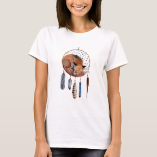 Red Fox Sleeping on Dreamcatcher T-Shirt