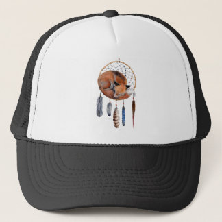 Red Fox Sleeping on Dreamcatcher Trucker Hat