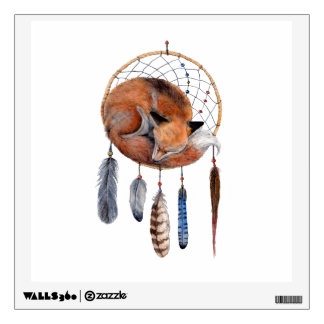 Red Fox Sleeping on Dreamcatcher Wall Decal