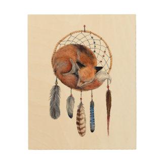 Red Fox Sleeping on Dreamcatcher Wood Wall Decor
