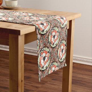 Red Fox Trio Mystical Tile Design Home Decor Short Table Runner