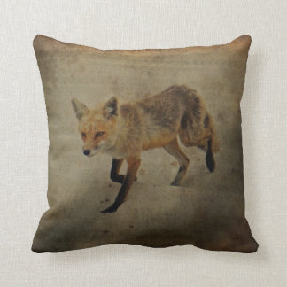 Red Fox Vixen - Island Beach State Park - NJ Throw Pillow